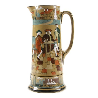 "Buffalo Pottery Deldare Ware Pitcher ""The Great Controversy"", 1908"