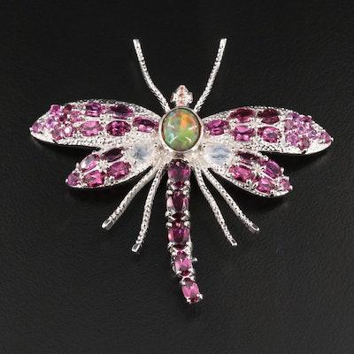Sterling Silver Opal, Rhodonite Garnet and Rainbow Moonstone Dragonfly Brooch