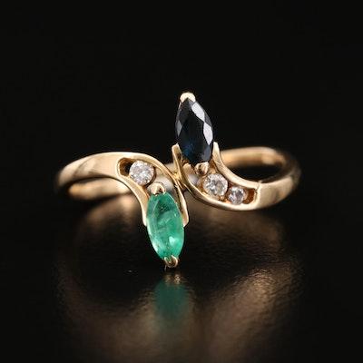 18K Yellow Gold Sapphire, Emerald and Diamond Bypass Ring