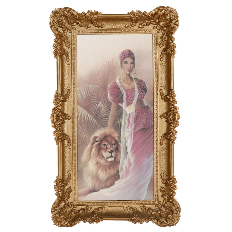 Offset Lithograph of Woman and Lion