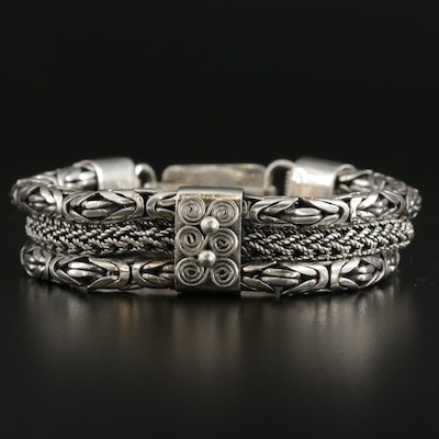 Bali Style Sterling Silver Triple Row Chain Bracelet