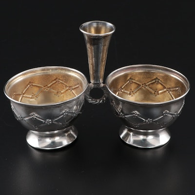 Sterling Silver Condiment Server With Repoussé Accents