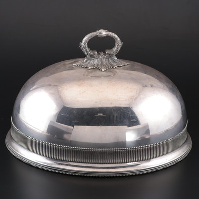 English Silver Plate Food Cloche with a Baroque Dolphin Handle