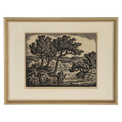 "Birger Sandzen Relief Print ""Saline River"""