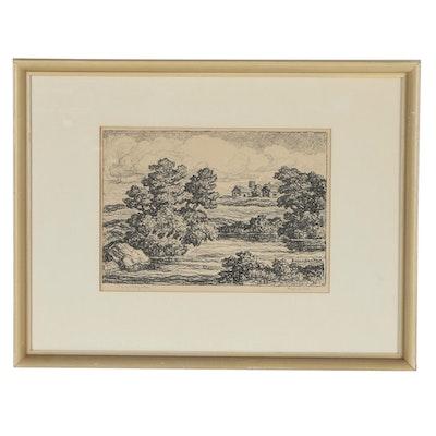 """Birger Sandzen Lithograph """"Smoky Valley Farm"""""""