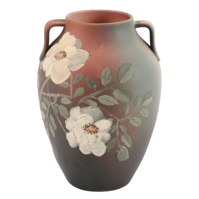 Rookwood Pottery Matte Slip Relief Rose Motif Vase, 1893