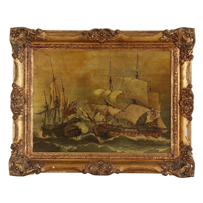 Print after 19th Century Painting of Capture of the English Frigate Stanhope