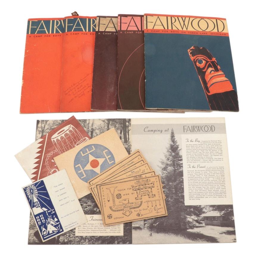 Camp Fairwood On Torch Lake, Michigan, Programs and Ephemera, 1940s