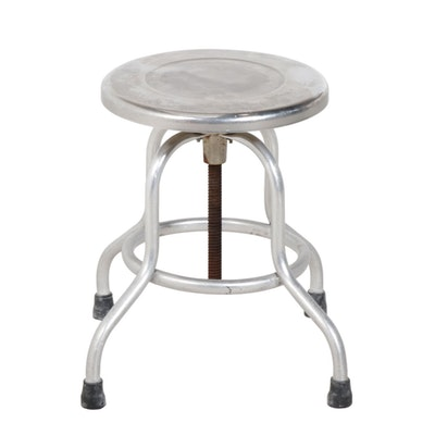 Industrial Metal Swivel Stool, Mid to Late 20th Century