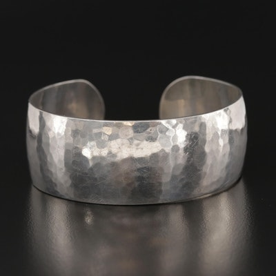 Modernist Style Harry Osaki Sterling Silver Hammered Cuff Bracelet