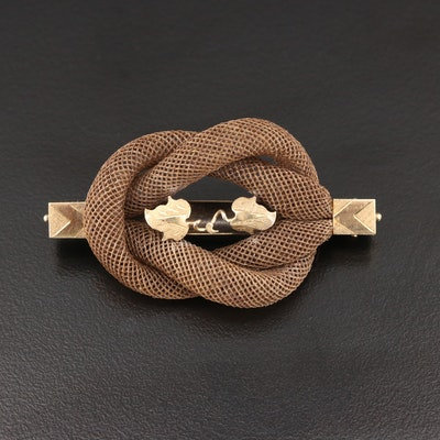 Victorian Mourning Hair Work Love Knot Bar Brooch With 10K Gold Accent