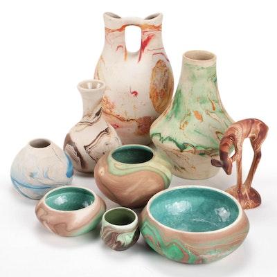Nemadji and Nemadji Style Earthenware Vases, Pots, and Figurine