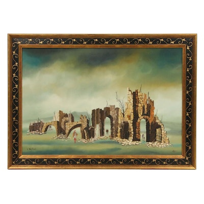 Itzhak Nesher Stone Ruins Oil Painting, Mid to Late 20th Century