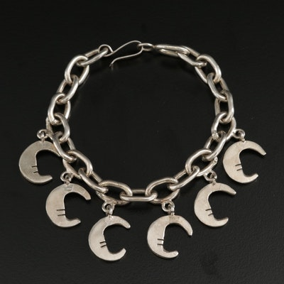 Mexican Sterling Silver Crescent Moon Charm Bracelet