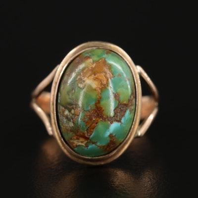 Vintage 10K Yellow Gold Turquoise Ring