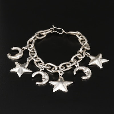 Taxco Sterling Silver Crescent Moon and Star Charm Bracelet