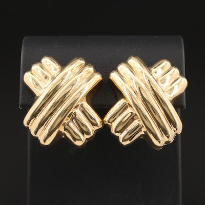 14K Yellow Gold Crossover Earrings