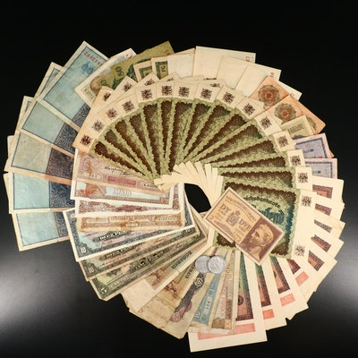 Fifty Pieces of Various Foreign Currency Notes Featuring Belgium and Albania