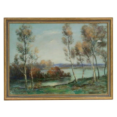 Lake Landscape Pastel Drawing, Early to Mid 20th Century