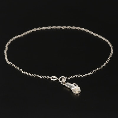 Sterling Silver Anklet with Flip Flop Charm