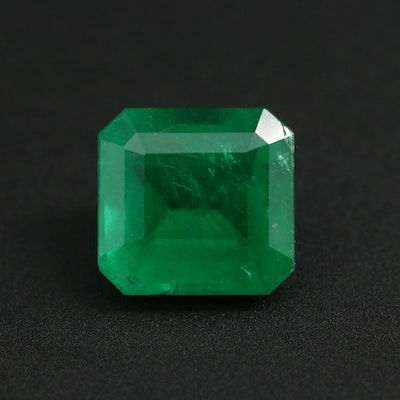 Loose 3.59 CT Brazilian Emerald Gemstone with GIA Report