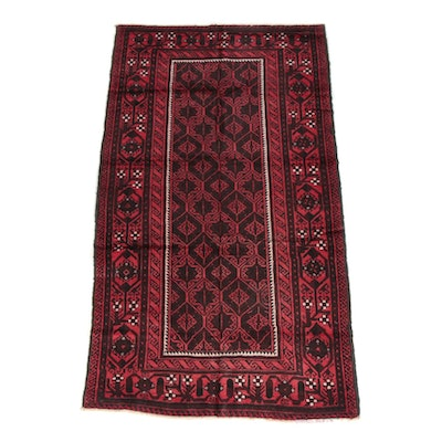 4'2 x 7'8 Hand-Knotted Afghan Baluch Wool Long Rug