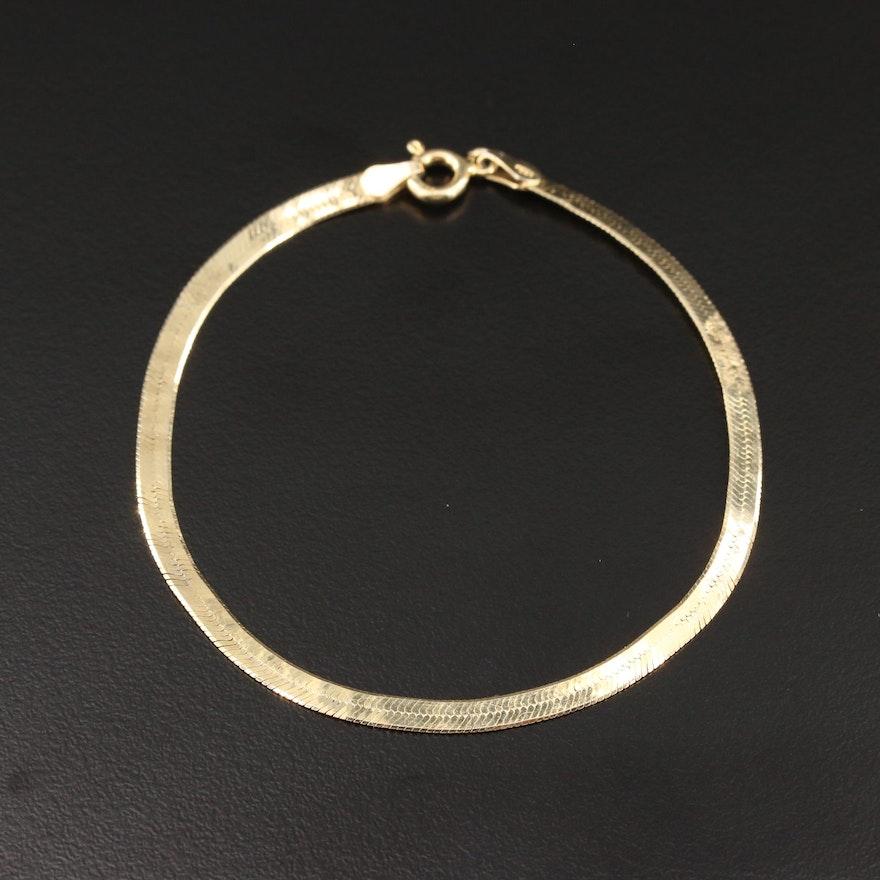 Sterling Silver Engraved Herringbone Bracelet