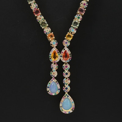 Sterling Opal, Sapphire and Ruby Necklace