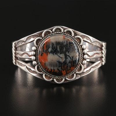 Southwestern Sterling Silver Jasper Stampwork Cuff Bracelet