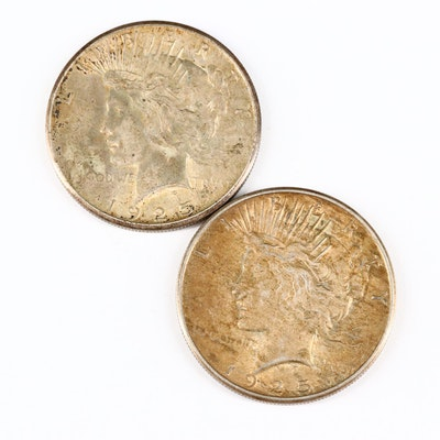 Two 1925 Silver Peace Dollars