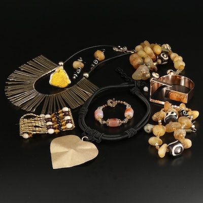 Costume Jewelry Selection Featuring Agate, Amber, and Tree Nut Accents