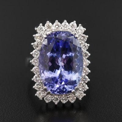14K White Gold 15.87 CT Tanzanite and 1.45 CTW Diamond Halo Ring