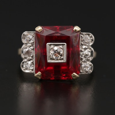 Vintage 10K Yellow Gold Ruby and Diamond Ring with Palladium Accents