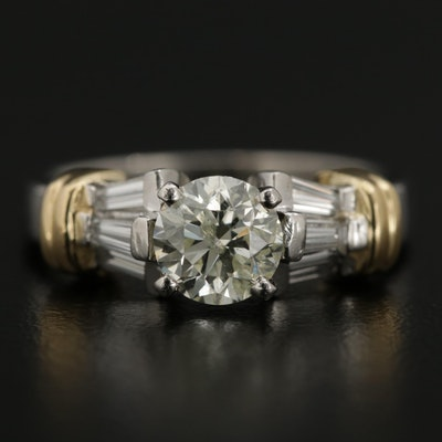 Platinum 1.43 CTW Diamond Ring with 18K Gold Accents