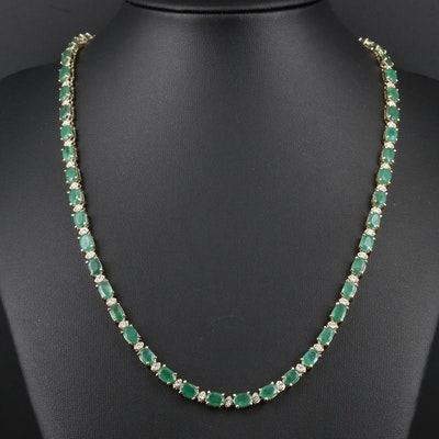 14K Yellow Gold 21.26 CTW Emerald and 1.45 CTW Diamond Necklace