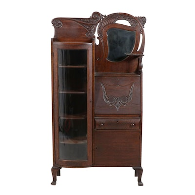 Late Victorian Side-by-Side Secretary Desk and Bookcase, Late 19th Century