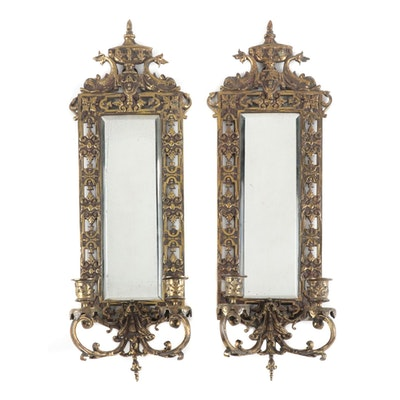 Pair of Neoclassical Style Brass Mirrored Candle Sconces