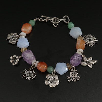 Carolyn Pollack for Relios Sterling Silver Amethyst and Gemstone Bracelet