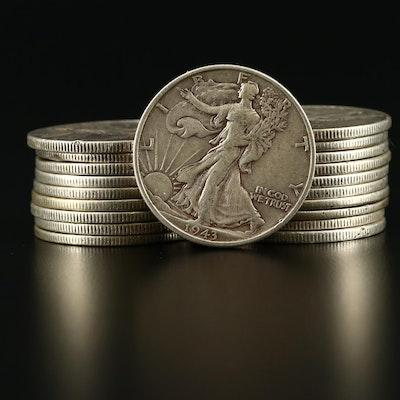 Twenty Walking Liberty Silver Half Dollars Ranging from 1935-1945