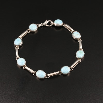 Sterling Silver Larimar Link Bracelet