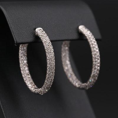 Sterling Silver Cubic Zirconia Inside Out Elongated JHoop Earrings