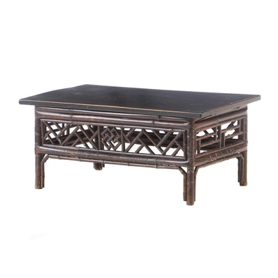 Chinese Bamboo and Ebonized Wood Low Table