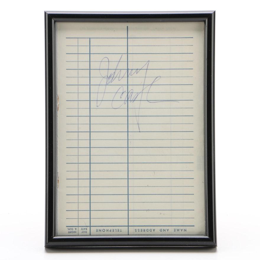 Johnny Cash Cut Signature, Framed   Visual COA