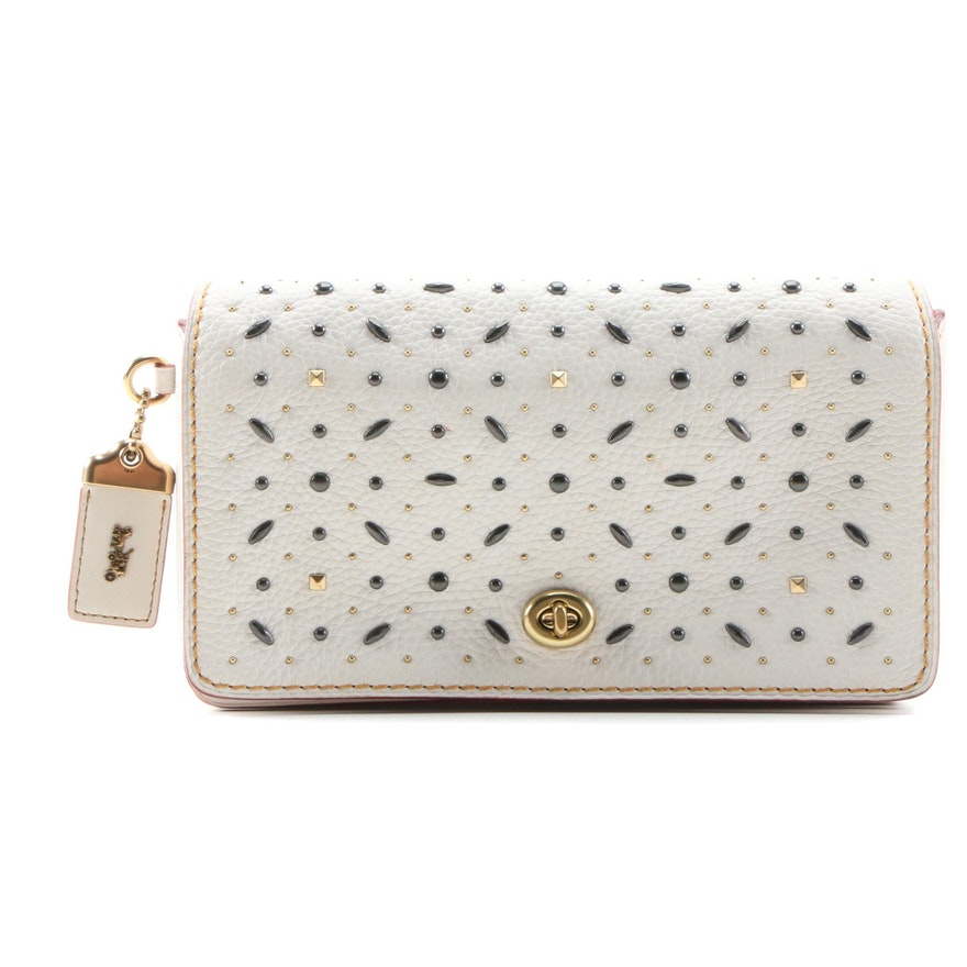 Coach Dinky Crossbody Bag in Embellished White Pebble Leather