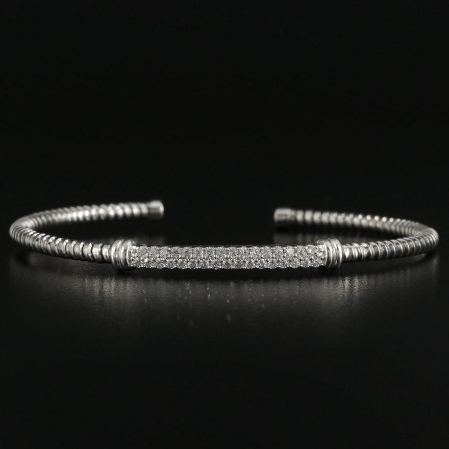 Sterling Silver Cubic Zirconia Cuff Bracelet