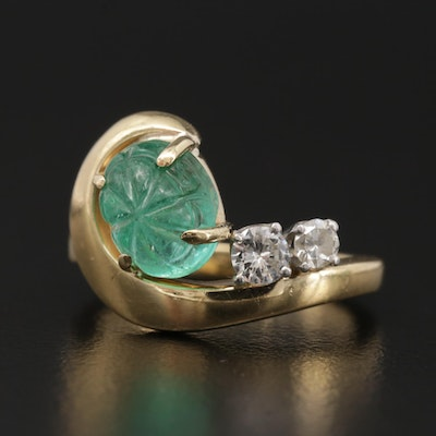 18K Yellow Gold Emerald and Diamond Ring with Platinum Accents