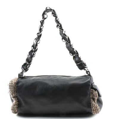 Chanel Shoulder Bag in Black Lambskin Leather with Tweed Bouclé Trim