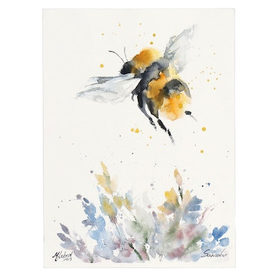 Marina Lebed Watercolor of Bee in Flight, 2019