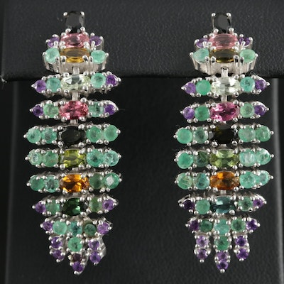 Sterling Silver Emerald, Citrine, and Tourmaline Dangle Earrings