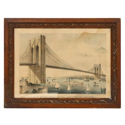"""Currier and Ives Hand-Colored Lithograph """"Great East River Suspension Bridge"""""""